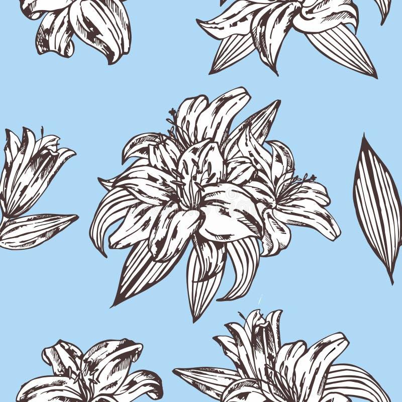 Configuration florale de vecteur sans joint Fleurs royales de lis sur un fond bleu illustration libre de droits