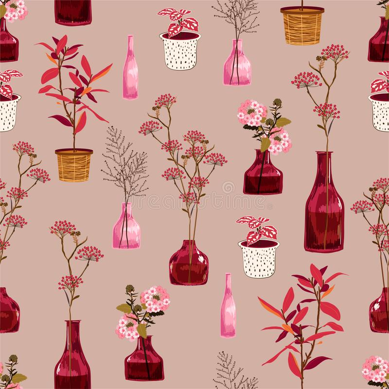 Configuration florale Fleurs botaniques sur l'humeur de cru avec les usines colorées dans le pot et le vase Modèle sans couture d illustration de vecteur