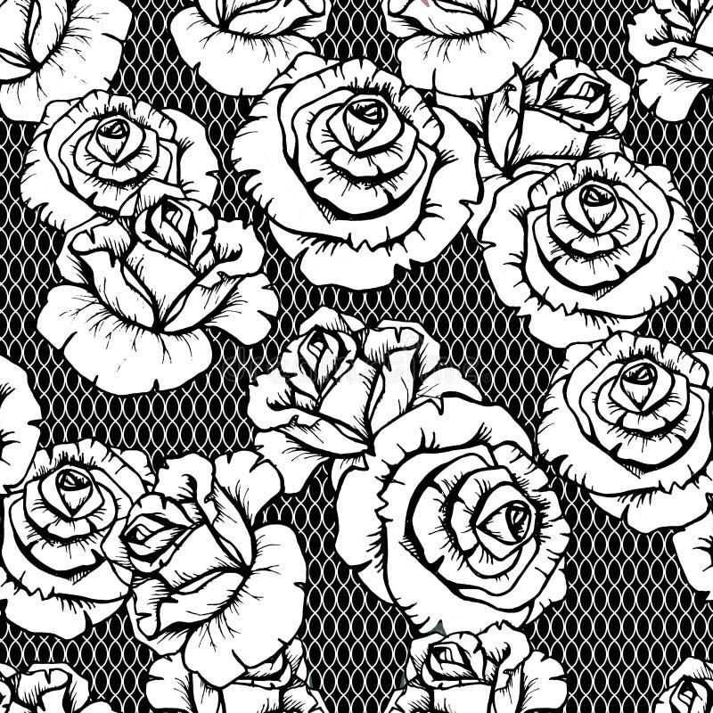 Configuration florale Fond sans joint de fleur Roses ornementales lourish noires et blanches de jardin de roses illustration de vecteur