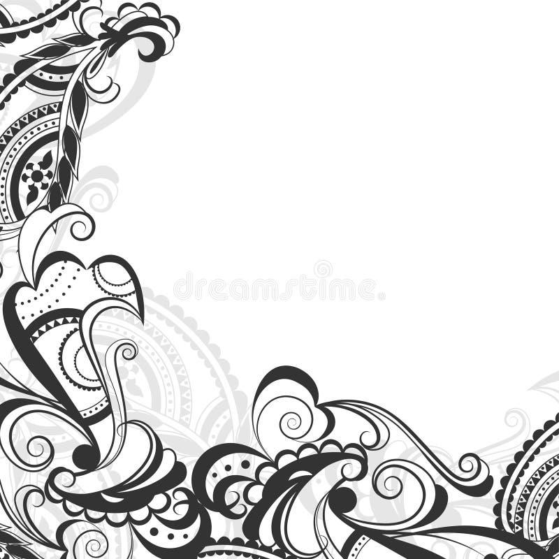 Configuration florale noire et blanche illustration libre de droits