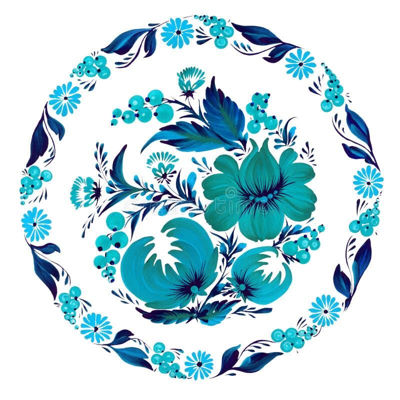 Configuration florale ronde Petrykivka ukrainien traditionnel de petrikovka de peinture illustration libre de droits