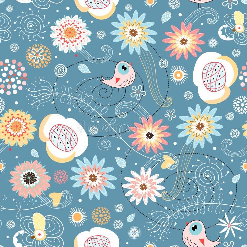 Configuration florale sans joint avec des oiseaux illustration stock