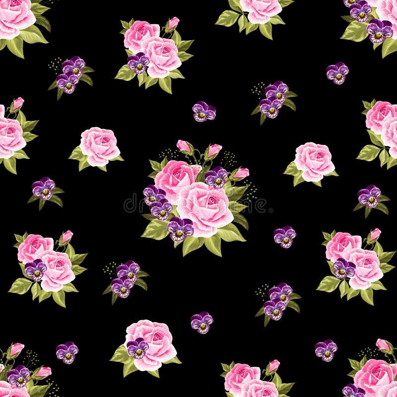 Download Configuration Florale Sans Joint Avec Des Roses Illustration Stock - Illustration du contexte, nature: 76083609