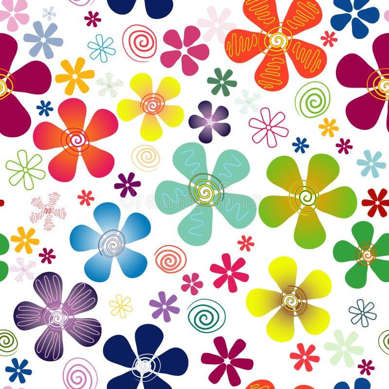 Configuration florale sans joint blanche illustration de vecteur