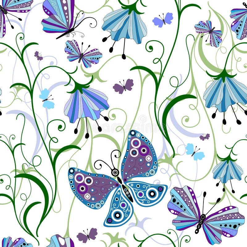 Configuration florale sans joint blanche illustration stock