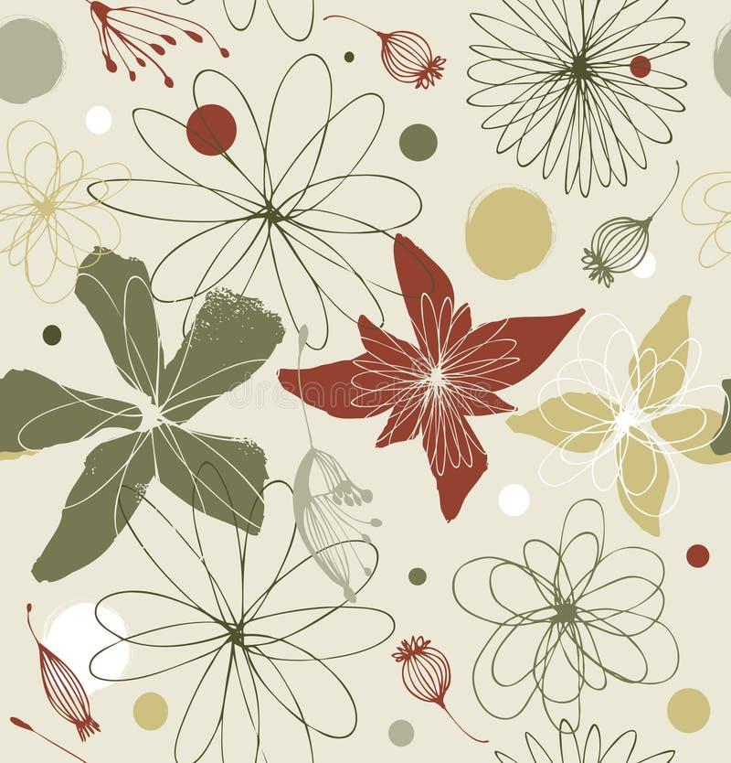 Configuration florale sans joint dans le type de cru Pâlissez le fond fleuri décoratif coloré avec des fleurs d'imagination illustration libre de droits