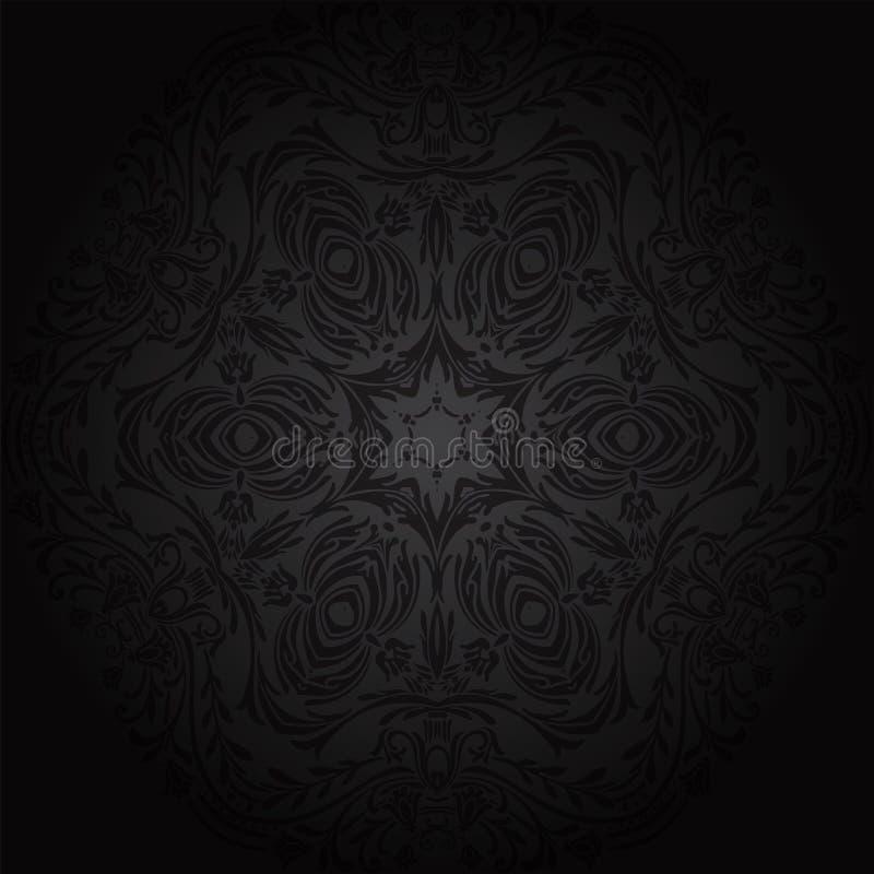 Configuration florale sans joint de damassé Papier peint royal Fleurs sur un fond noir illustration de vecteur
