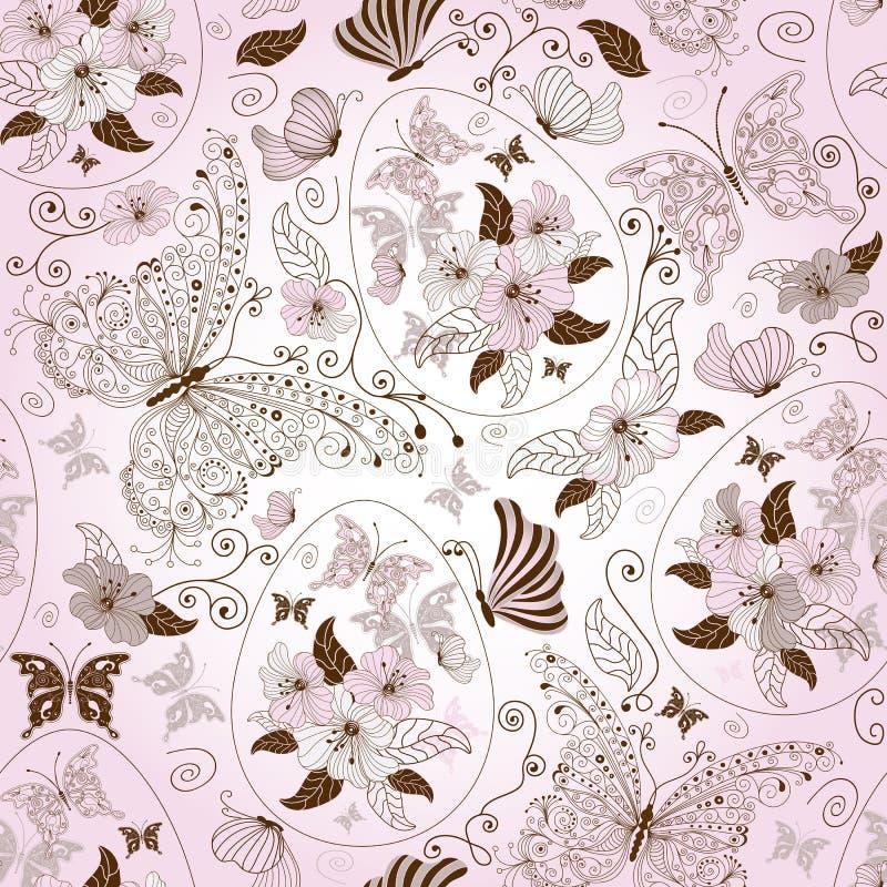 Configuration florale sans joint de Pâques illustration de vecteur