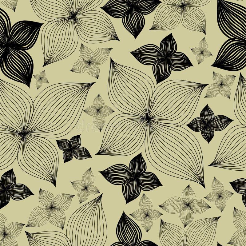 Configuration florale sans joint de vecteur avec lilly la fleur illustration stock