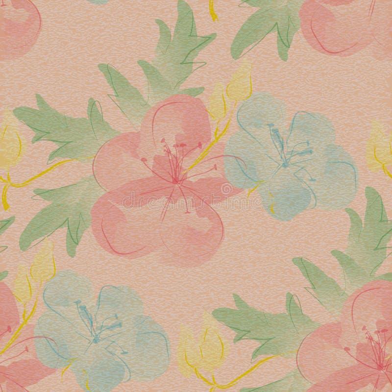 Configuration florale sans joint La grande aquarelle fleurit sur le fond texturisé âgé illustration de vecteur