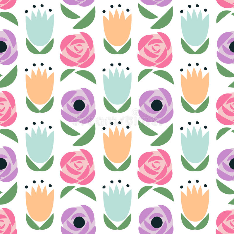 Configuration florale sans joint Le ressort mignon fleurit le fond - tulipes, roses, renoncules, pavots illustration stock