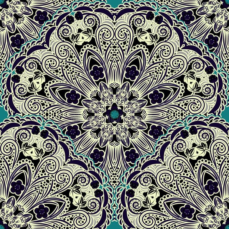 Configuration florale sans joint Ornement beige des baies et des fleurs dans le style de la peinture chinoise sur la porcelaine R illustration libre de droits