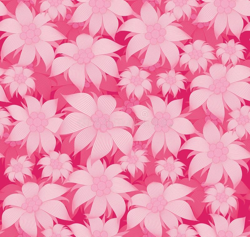 Configuration florale sans joint Sur un fond rose, les fleurs sont edelweiss, nénuphar, lotus Pour la carte postale, invitations, illustration libre de droits