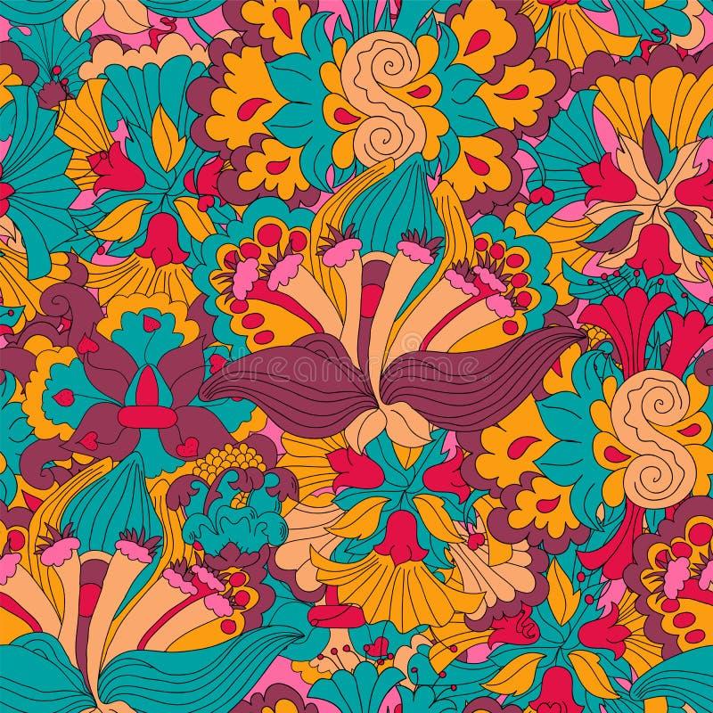 Configuration florale tirée par la main abstraite sans joint illustration stock