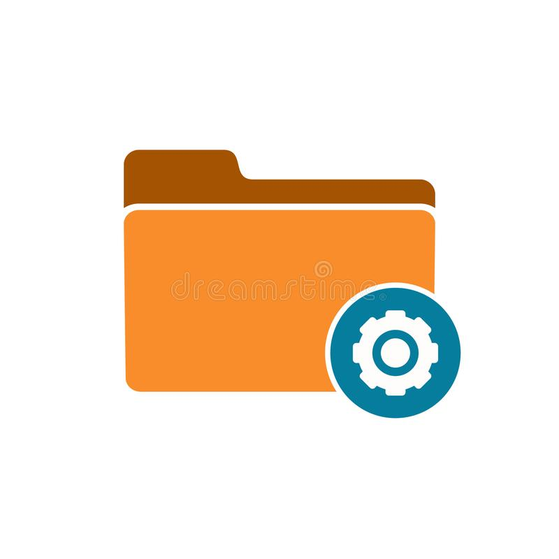 Configuration folder gear options preferences settings tool icon. Vector icon royalty free illustration