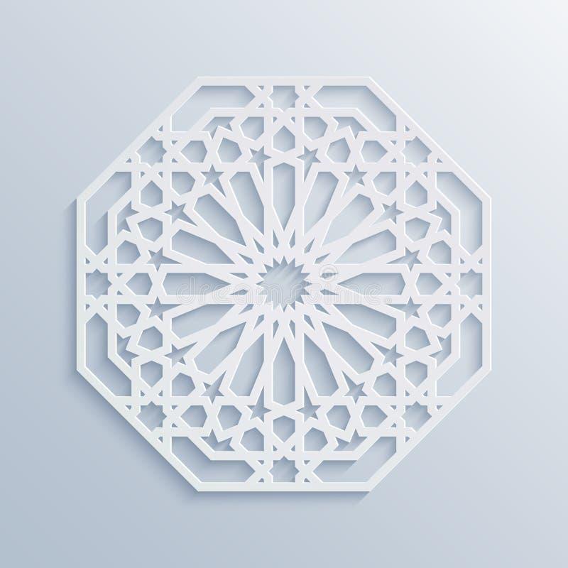 Configuration géométrique islamique Mosaïque musulmane de vecteur, motif persan Ornement oriental blanc élégant, art arabe tradit illustration libre de droits