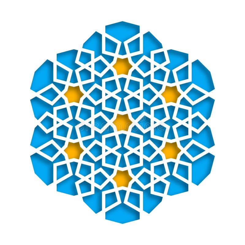 Configuration géométrique islamique Mosaïque musulmane du vecteur 3D, motif persan Ornement oriental élégant, art arabe tradition illustration libre de droits