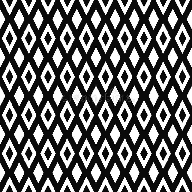 Configuration géométrique sans joint de vecteur Texture de losanges Fond noir et blanc Conception en forme de diamant monochrome illustration de vecteur