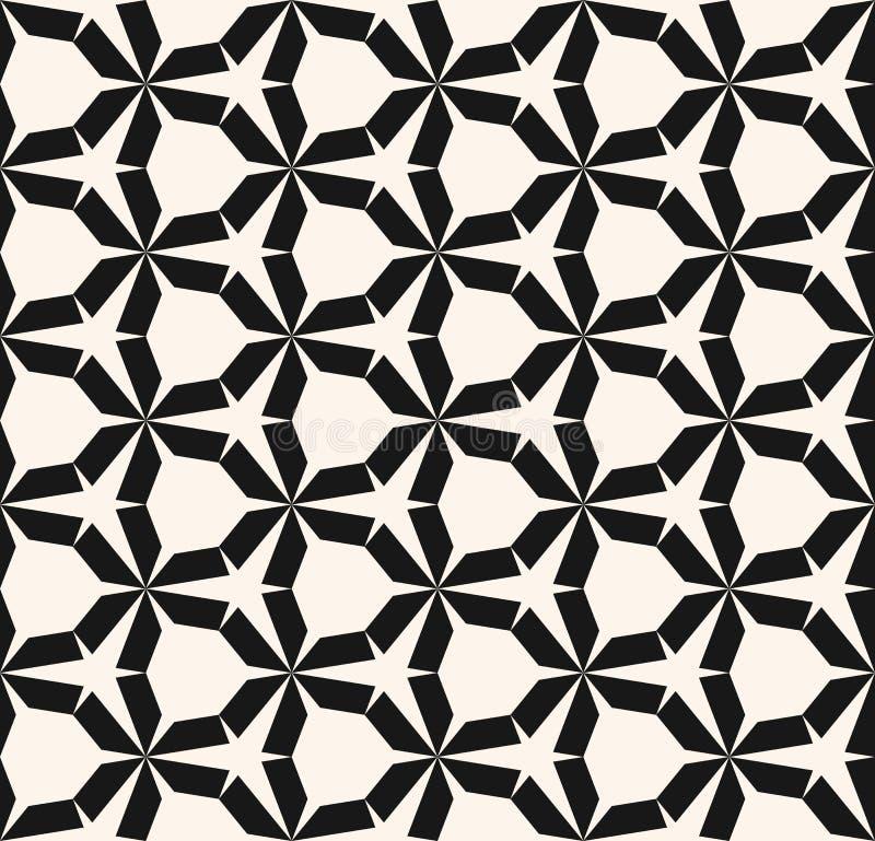 Configuration géométrique sans joint de vecteur Texture noire et blanche avec la grille hexagonale illustration libre de droits