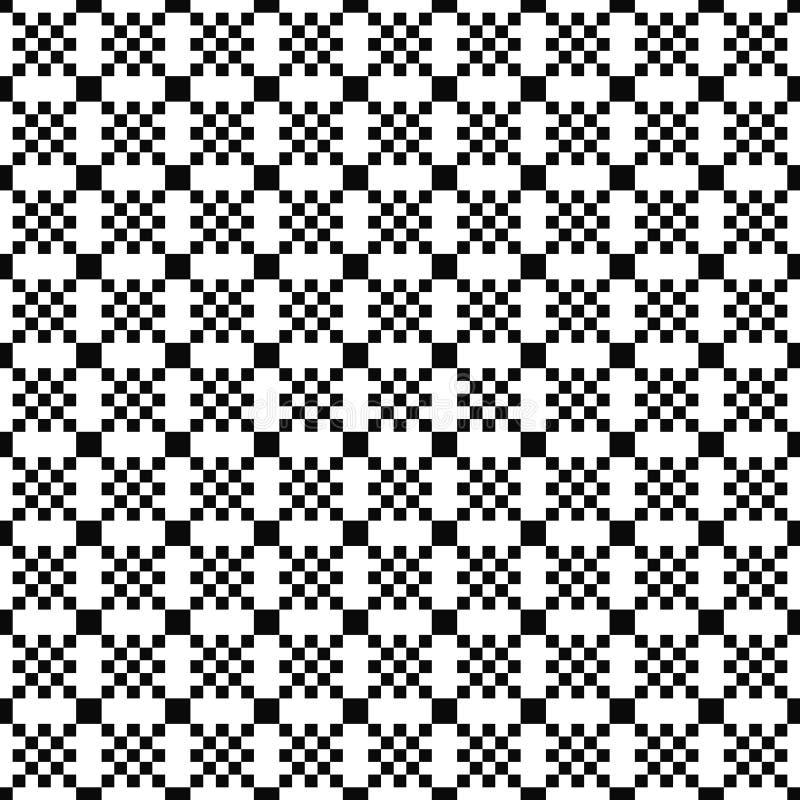 Configuration géométrique sans joint de vecteur Texture simple des places Fond noir et blanc Conception monochrome illustration de vecteur