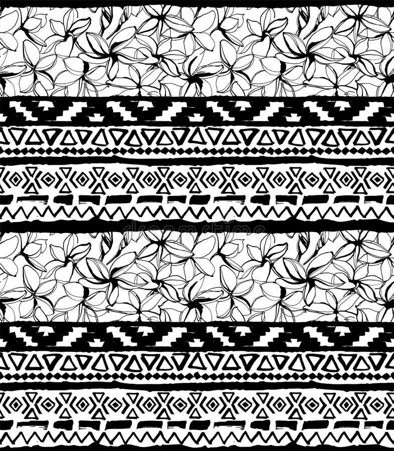 Configuration géométrique sans joint Fond floral tribal tropical aztèque ethnique de fleurs illustration de vecteur