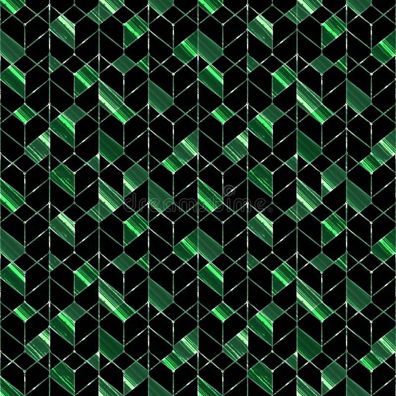 Configuration géométrique sans joint Les formes de vert sur un fond noir illustration libre de droits