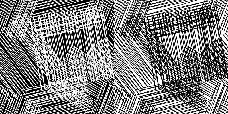 Configuration géométrique sans joint Plancher noir et blanc avec la texture en bois Modèle rayé et carré illustration de vecteur