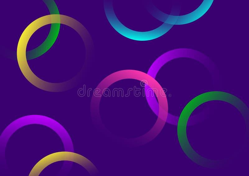 Configuration g?om?trique Cercles colorés lumineux avec le gradient sur le fond pourpre Vecteur illustration libre de droits