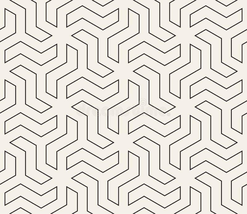 Configuration g?om?trique sans joint de vecteur Lignes abstraites simples trellis La r?p?tition du zigzag forme le carrelage de f illustration libre de droits