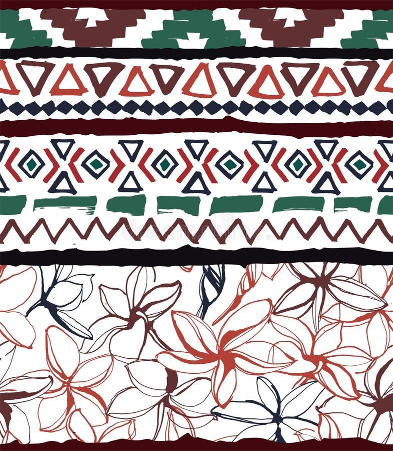 Configuration g?om?trique sans joint Fond floral tribal tropical azt?que ethnique de fleurs illustration de vecteur