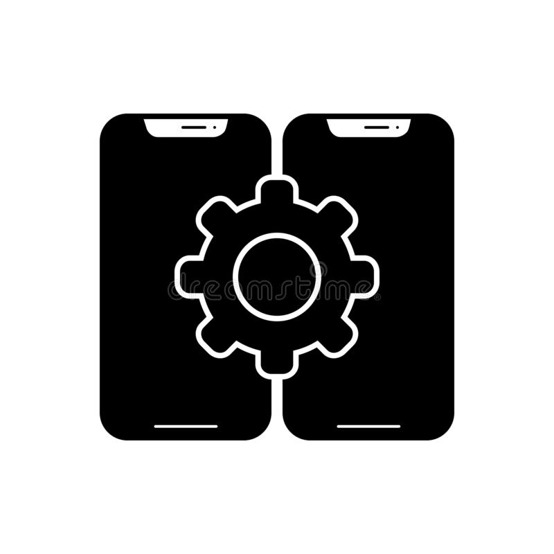 Black solid icon for Configuration, assortment and smartphone. Black solid icon for Configuration, taxonomy, classification, logo,  assortment and smartphone royalty free illustration