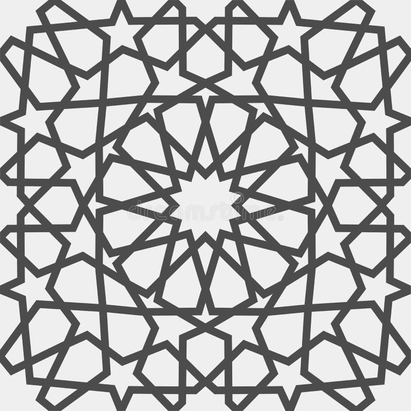 Configuration islamique Modèle géométrique arabe sans couture, ornement est, ornement indien, motif persan, 3D Texture sans fin illustration de vecteur