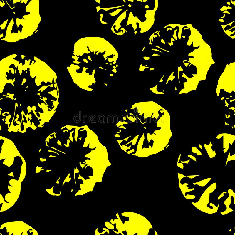 Configuration monochrome sans joint abr?gez le fond Empreinte de citron Copie décorative des citrons jaunes sur un fond noir illustration stock