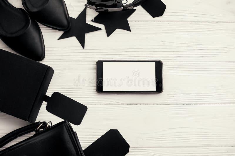 Configuration plate élégante de Black Friday Téléphone avec l'écran vide, Ba noir photo stock