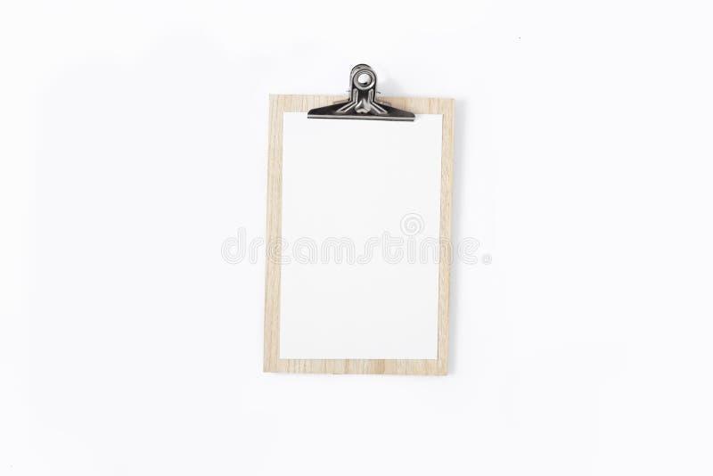 Configuration plate blanche de vue supérieure de fond de presse-papiers photographie stock libre de droits