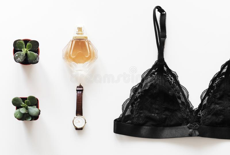 Configuration plate de mode de vie féminin photo libre de droits