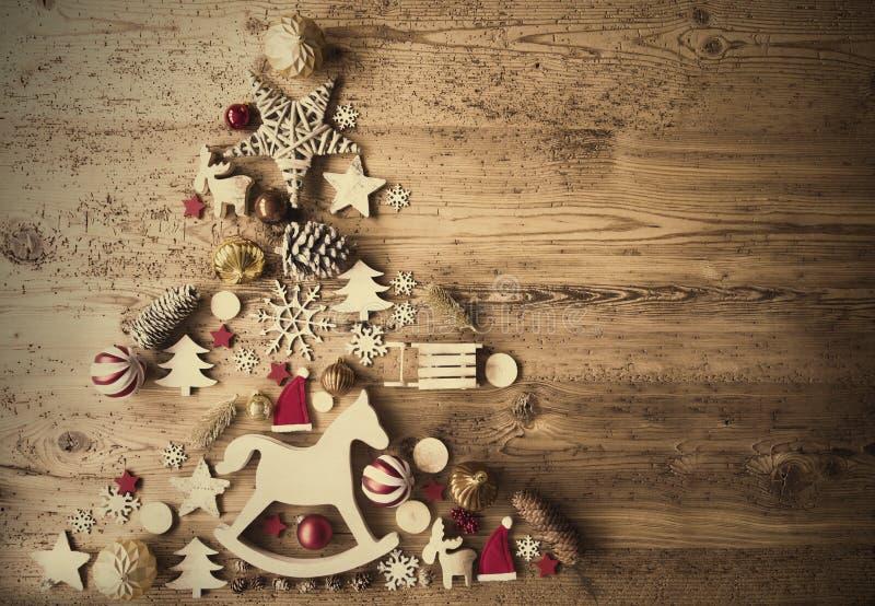 Configuration plate de Noël avec la décoration, cheval de basculage, rétro fond image stock