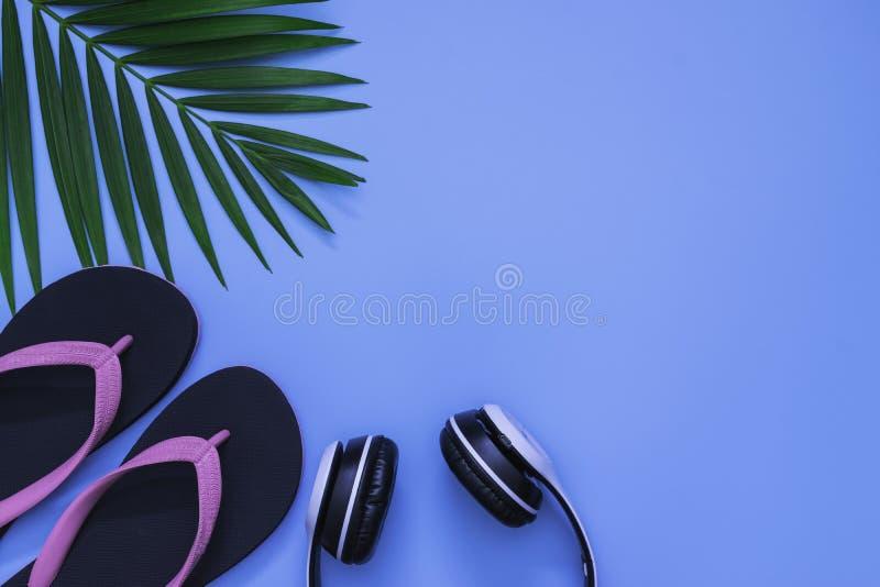 Configuration plate, vue supérieure avec la paume tropicale de pantoufles, d'écouteur et de feuille verte pour le concept de voya photographie stock libre de droits