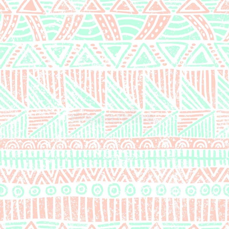 Configuration rayée sans joint Motifs ethniques et tribals Copie de vintage, texture grunge Ornement simple handmade Blanc, rose  illustration libre de droits