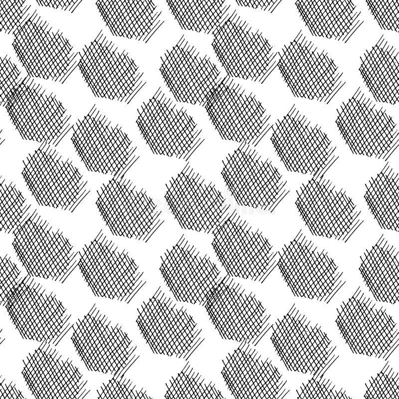 Configuration sans joint abstraite de vecteur Éléments tirés par la main Courses, illustration stock