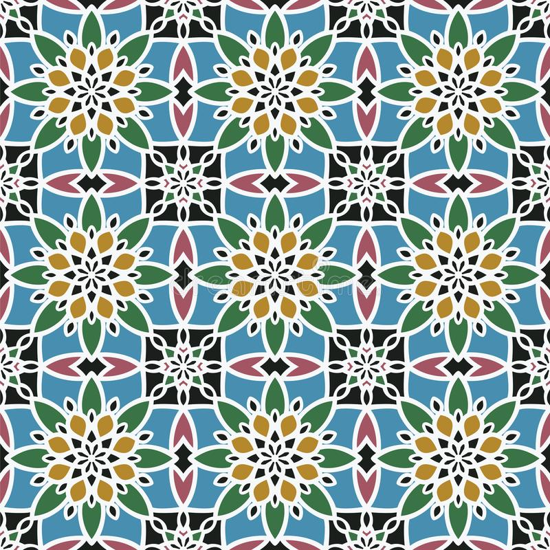 Configuration sans joint abstraite de vecteur Modèle est géométrique d'ornement de couleur de vintage Islamique, arabe, indien, d illustration libre de droits