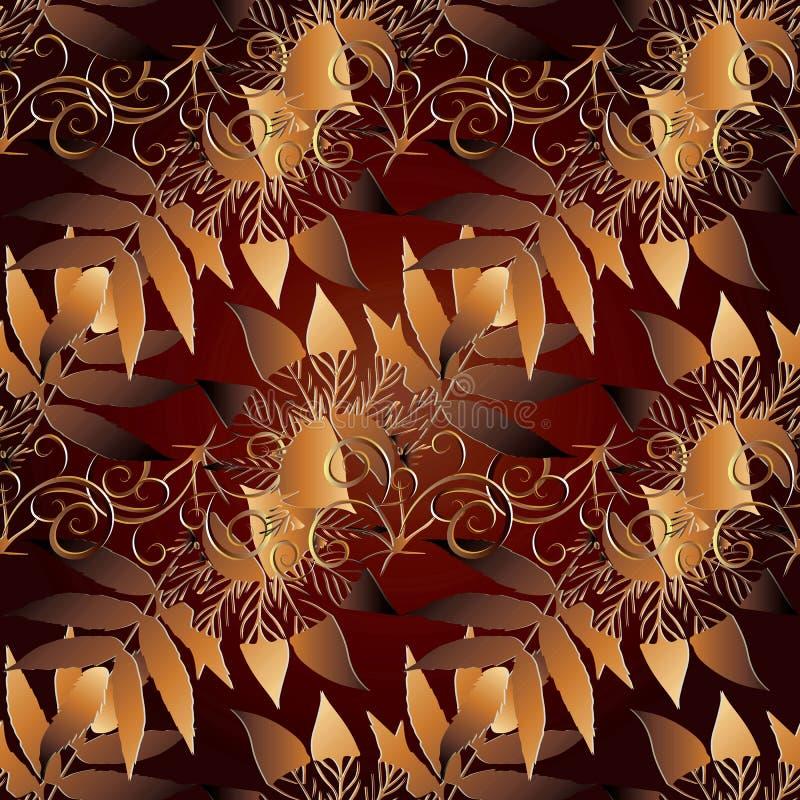 Configuration sans joint abstraite florale Fond de vecteur d'automne or illustration libre de droits