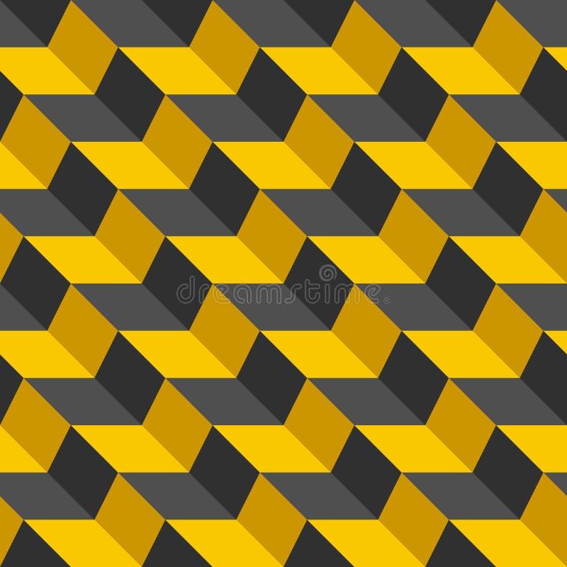 Configuration sans joint abstraite Texture élégante de chevron noir et jaune avec des ombres Illustration de zigzag de couleur de illustration de vecteur