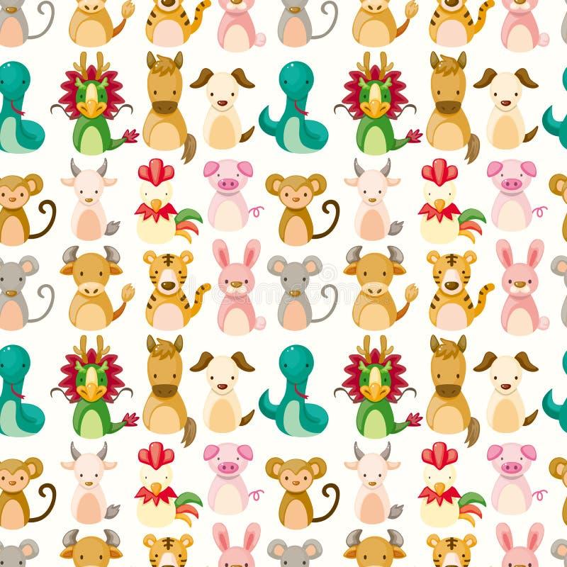 Configuration sans joint animale de zodiaque chinois illustration stock