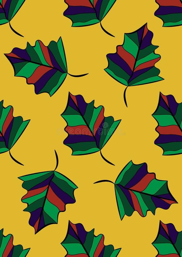 Configuration sans joint Autumn Leaves Clavettes colorées Fond de vecteur illustration libre de droits