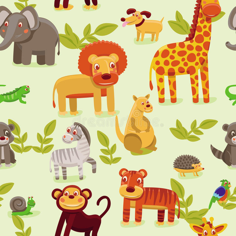 configuration sans joint avec des animaux de dessin animé illustration libre de droits