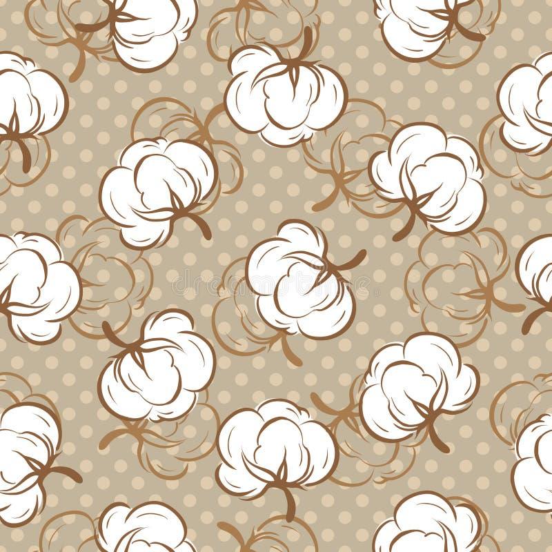 Configuration sans joint avec des bourgeons de coton illustration de vecteur