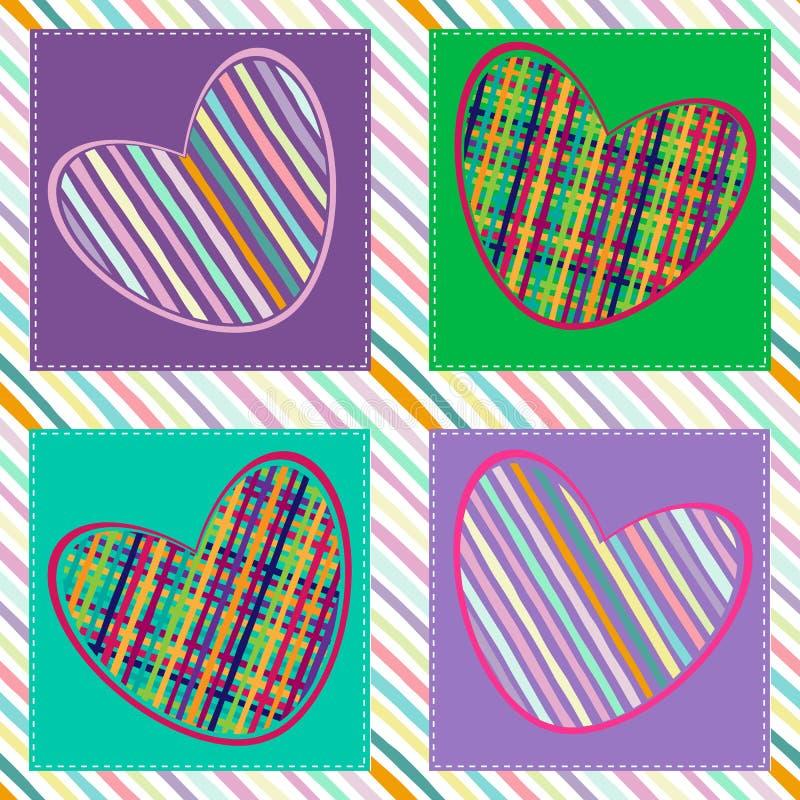 Configuration sans joint avec des coeurs Photo lumineuse de l'amour Rayure et coeur diagonaux de modèle d'impression Illustration illustration de vecteur