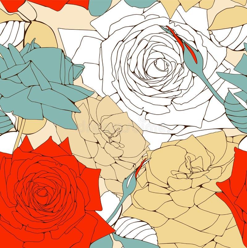 Configuration sans joint avec des fleurs de roses. illustration stock