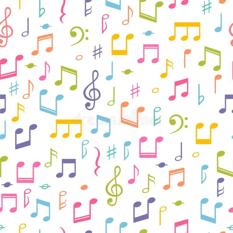 Configuration sans joint avec des notes de musique Fond tiré par la main avec des symboles de musique Signes de mélodie illustration de vecteur